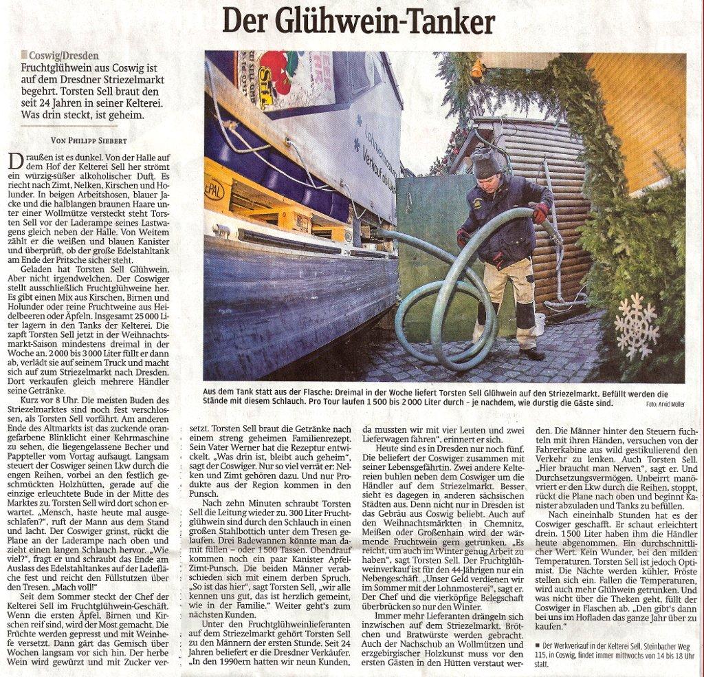 Fruchtglühwein aus Coswig ist auf dem Dresdner Striezelmarkt begehrt. Torsten Sell braut den seit 24 Jahren in seiner Kelterei. Was drin steckt, ist geheim.